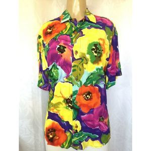 Jams World Poppy Floral Button Down Shirt Top S